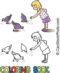 Girl feeding pigeons. Coloring book - Coloring book or...