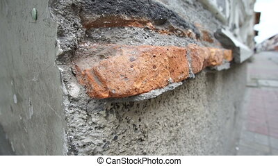 Colonial Building Weathered Bricks - Tilt up shot of...