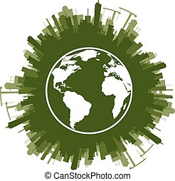 Ecology concept of green planet Vector illustration