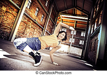 fitness dance - woman in sport dress dancing zumba or...