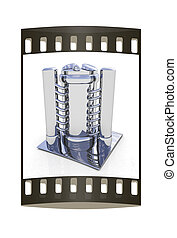 Abstract chrome metal pressure vessel. The film strip