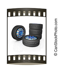 car wheel The film strip - car wheel illustration on white...