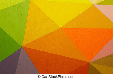 Painted multicolored background with geometric lines...