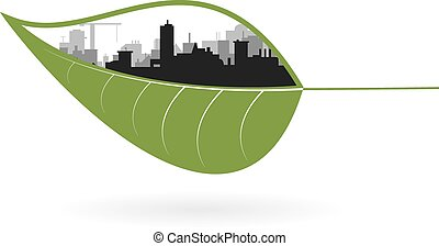 Ecology concept of green town Vector illustration