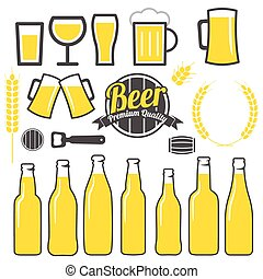 Beer icons, labels, signs, symbols and design elements...