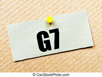 Recycled paper note with word G7 - Recycled paper note...