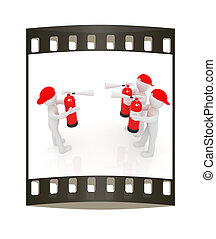 3d mans with red fire extinguisher The concept of...