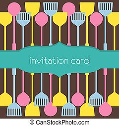 Utensils Pattern Invitation Card.