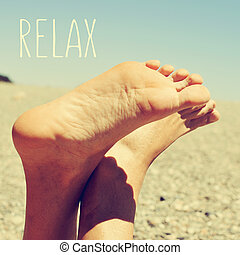 relaxing at the beach, with a retro look - the text relax...