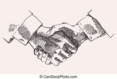 Drawing Shake Hands Partnership Vector Sketch