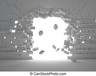brick explosion - 3d image of breaking brick wall