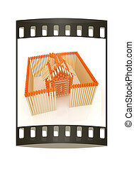 Log house from matches pattern The film strip - Log house...