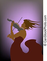 Violin Concerto - A woman in a red dress playing the violin