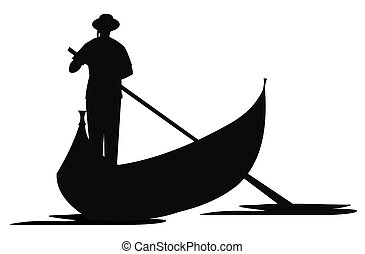 gondolier in silhouette over white