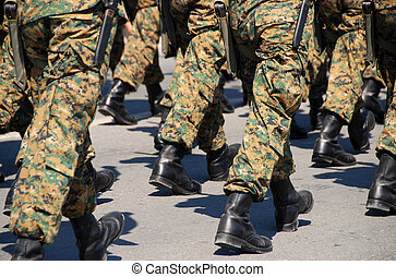 Military soldiers with uniforms and guns. - Cypriot Military...
