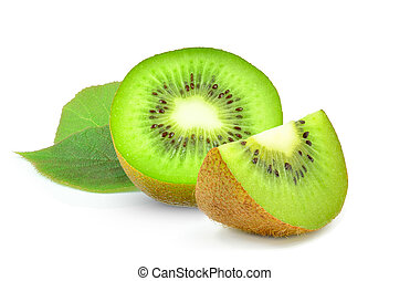 kiwi and leaf isolated on white background