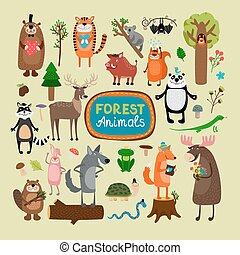 Vector forest animals set. Tiger koala bat squirrel panda...
