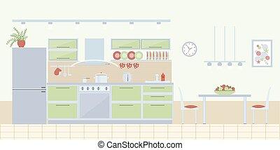 Kitchen interior in flat style
