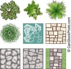 Landscape design top view vector elements. Plant tree,...