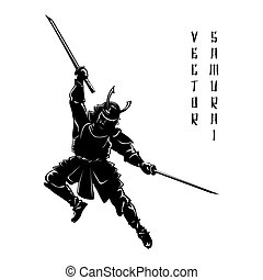 Samurai silhouette. Warrior and sword, fight ancient, vector...