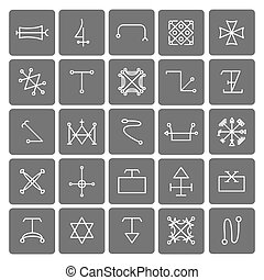 Mystical symbols and sacred signs icons set Religion and...