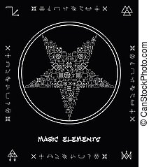 Five-pointed star of magical elements. Creative religion...