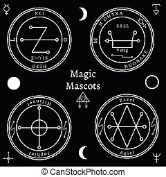 Astrological talismans set. Magical shape, creative religion...