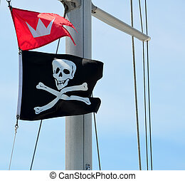 Pirate Flag - Pirate flag on sailing yacht