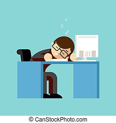 Businessman sleeping on his office desk top Table and work,...