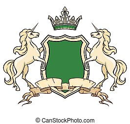 Coat of arms logo template. Unicorns with shield and crown