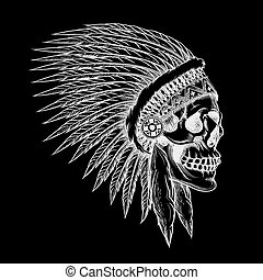 Vector skull of indian chief in hand drawing style. Feather...