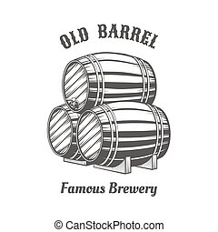 Logo design with wooden beer barrels for pab Alcohol, old...