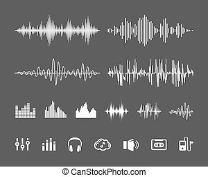 Sound waveforms - Vector Sound Waveforms. Sound waves and...