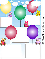 white banners with teddies on balloons - white banners with...