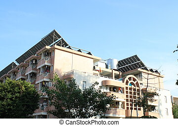 solar panels - In the college, people use solar panels to...