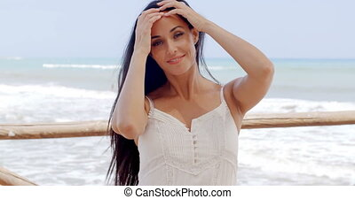 Gorgeous Lady in White Standing at Beach Pathway - Gorgeous...