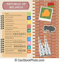 Belarus infographics, statistical data, sights Vector...