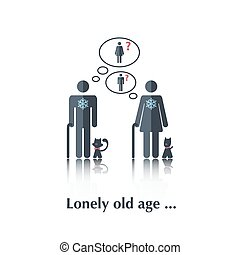 Lonely old age - Vector people icon,pictogram.Concept of...