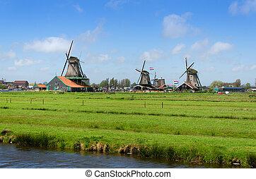 Wind mills in Zaanse Schans, Netherland.