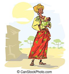 African woman with baby, hand drawn mother and child, sketch