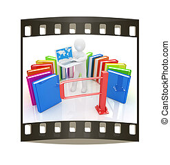 Control concept with 3d man The film strip - Control concept...