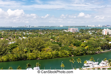 Miami, Florida - Aerial scenic view of South Beach in...