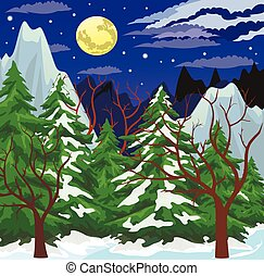Night mountain landscape - Night winter scene with the moon...