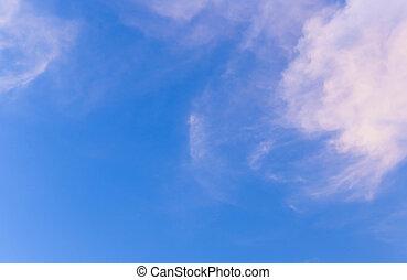 azul, blanco, cielo, nubes