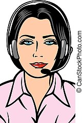 female helpline operator with headset (support phone...