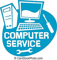 computer service label computer repair service sign,...