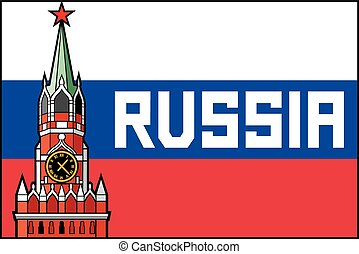 kremlin tower with clock in moscow - russia flag poster...