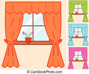 window with curtain and flower in pot