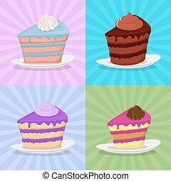 Set a piece of cake on a plate. Cake on a bright background. Strawberry cake. Chocolate cake in a retro style. Vector illustration