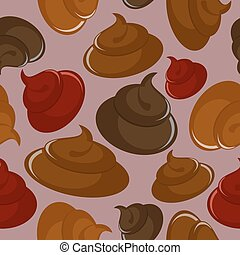 Shit seamless pattern Vector Brown background
